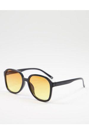 ASOS Recycled frame round sunglasses with orange lens
