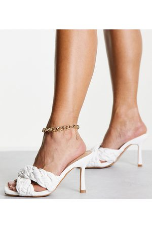 Raid Wide Fit Lauder plaited mules in white