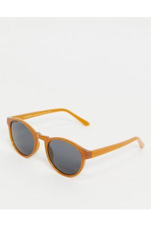A.Kjaerbede Marvin unisex round sunglasses in dark orange