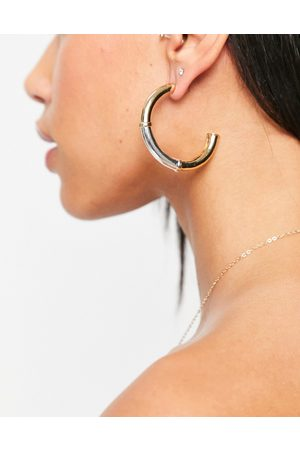 Accessorize Two tone hoop earrings in mixed metals