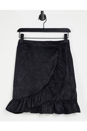 Lola May Ruffle wrap front mini skirt in black