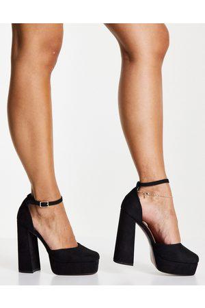 ASOS DESIGN Priority platform high heeled shoes in black