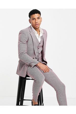 ASOS Hombre Sacos - Wedding super skinny wool mix suit jacket in burgundy puppytooth