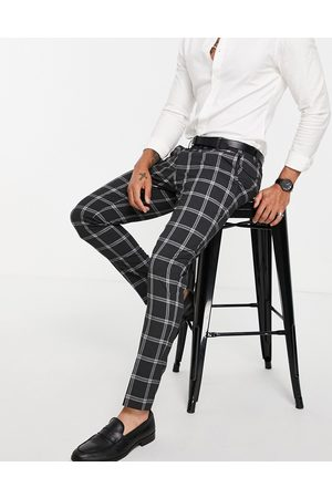 ASOS Skinny suit trousers with prince of wales check charcoal
