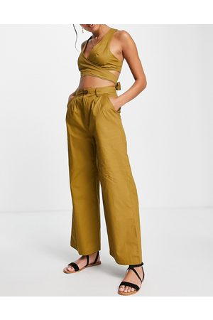 Skylar Rose 2 piece wide leg trousers with strappy back crop top in khaki