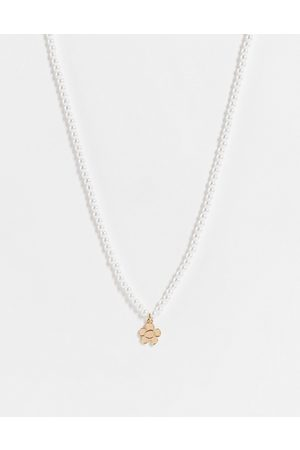 ASOS DESIGN Neckchain with faux pearl and flower pendant in white