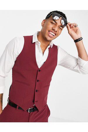 ASOS DESIGN Super skinny waistcoat in burgundy