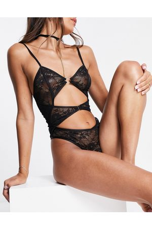 Ann Summers Confession stetch lace cutout bodysuit with detachable neck harness in black