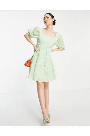 Vila Mini tulle smock dress with low back and bow detail in green