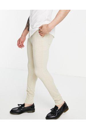 ASOS DESIGN Skinny smart trouser in stone waffle