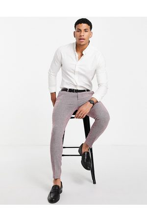 ASOS DESIGN Hombre Slim y skinny - Wedding super skinny wool mix suit trousers in burgundy puppytooth