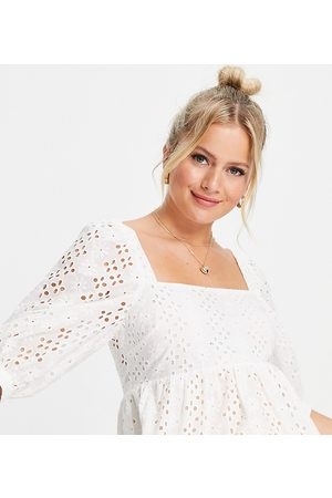 New Look Maternity Square neck broderie blouse in white