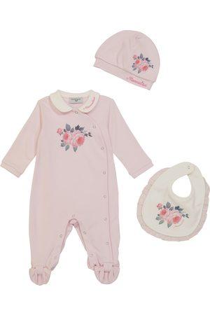 MONNALISA Baby floral cotton onesie, bib and hat set