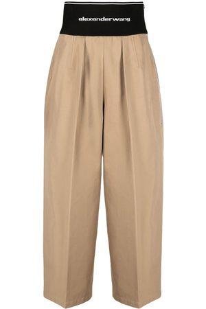 Alexander Wang Pantalones anchos con logo en la pretina