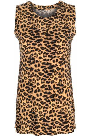 Norma Kamali Top sin mangas con estampado de leopardo