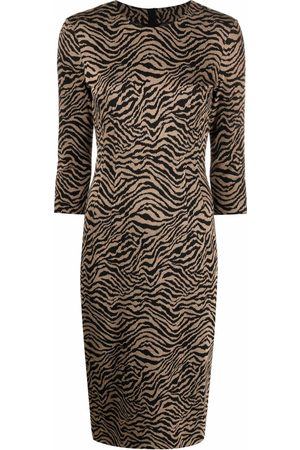 Pinko Mujer Midi - Vestido midi con estampado de cebra