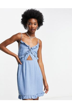Urban Bliss Ruffle mini dress in chambray