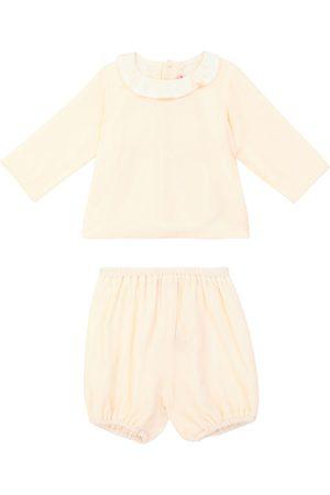 BONPOINT Baby Thairys silk velvet blouse and bloomers set