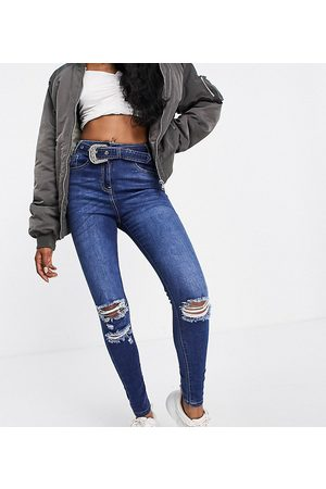 Parisian Belted skinny jeans in charcoal
