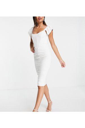 Jaded Rose Mujer Midi - Exclusive statement shoulder corset midi dress in cream