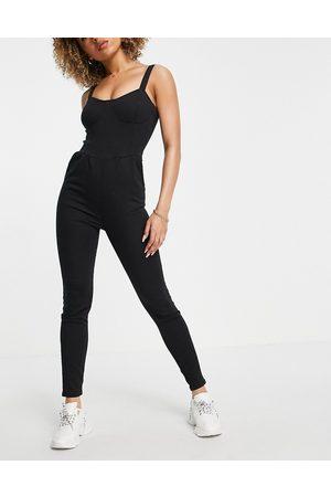 Parisian Mujer Largos - Denim cami strap jumpsuit in black
