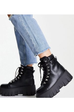 ASOS Mujer Botas y Botines - Wide Fit Anastasia chunky hiker lace up boots in black