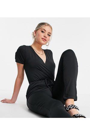 Threadbare Tall Mujer Cortos - Short sleeve jersey jumpsuit in black