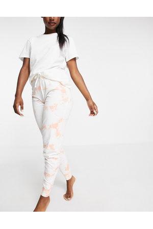Threadbare Tie dye pyjama jogging bottoms in peach