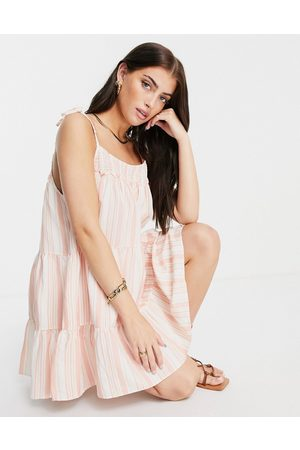Rhythm Mujer De playa - Montanna shirred mini beach dress in red and white stripe