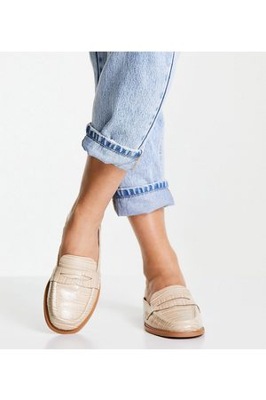 ASOS Wide Fit Maximal 90's mule loafers in croc