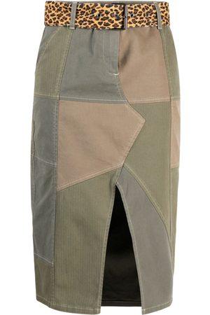 Pinko Falda midi con diseño patchwork y cinturón