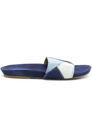 AMIR SLAMA Mujer Flip flops - Flip flops de mezclilla con diseño patchwork