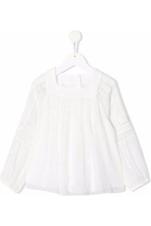 Chloé Niña Blusas - Blusa de seda con cuello cuadrado