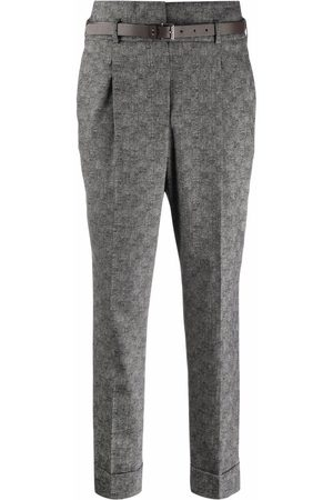 PESERICO SIGN Pressed-crease belted tailored trousers