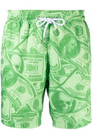 Philipp Plein Hombre Shorts - Shorts de playa con estampado de dólares