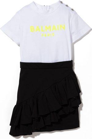 Balmain Niña Vestidos - Vestido corto con logo de lentejuelas