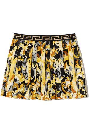VERSACE Faldas - Baroque-print pleated skirt