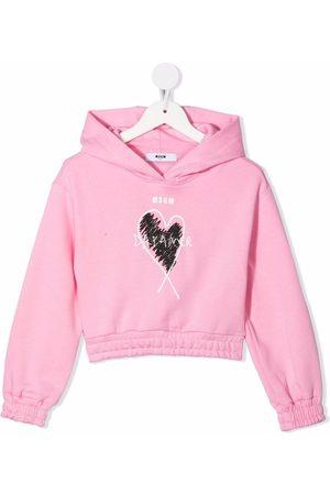 MSGM Kids Niña Con capucha - Dreamer heart-print hoodie