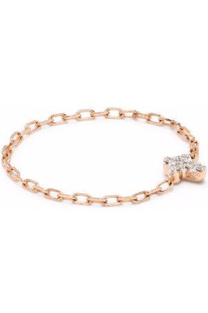 Djula Mujer Dijes - Anillo con cruz en oro rosa de 18kt con diamantes