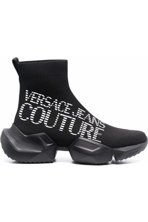 VERSACE Logo-print sock-ankle trainers