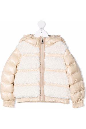Moncler Niña De plumas - Contrasting-panel puffer jacket