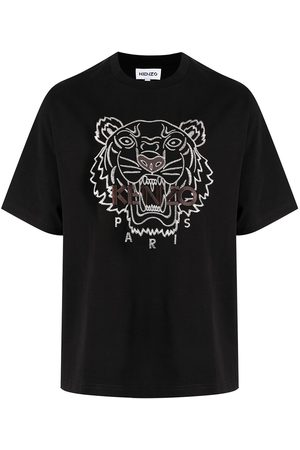 Kenzo Hombre Playeras - Tiger-embroidered cotton T-shirt