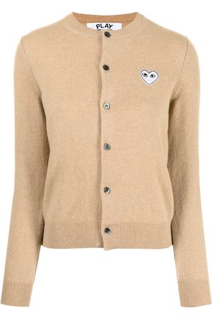Comme des Garçons Mujer Cárdigans - Embroidered heart wool-knit cardigan