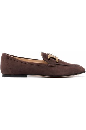 Tod's Mujer Mocasines - Chain-plaque suede loafers