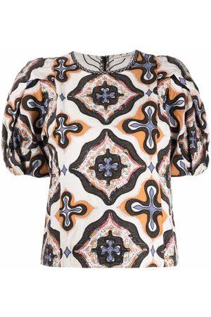 ULLA JOHNSON Gaia geometric-print cotton blouse