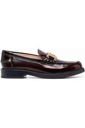 Tod's Patent leather logo-plaque loafers