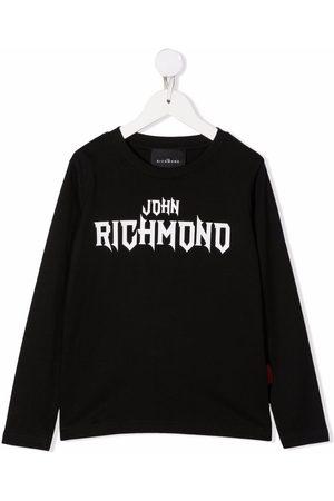 John Richmond Junior Niño Playeras - Logo print long sleeved T-shirt