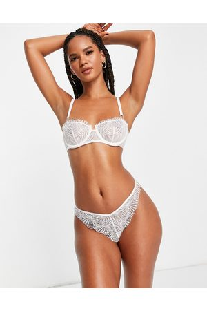 ASOS DESIGN May Bridal soft underwire bra with lace up detail in white