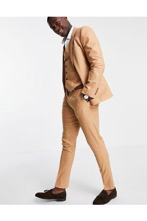 ASOS DESIGN Skinny suit trousers in tan cotton linen
