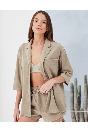 4th & Reckless Kali oversized towelling beach shirt in sage